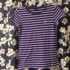 Ralph Lauren Sport blue, pink, & white striped tee